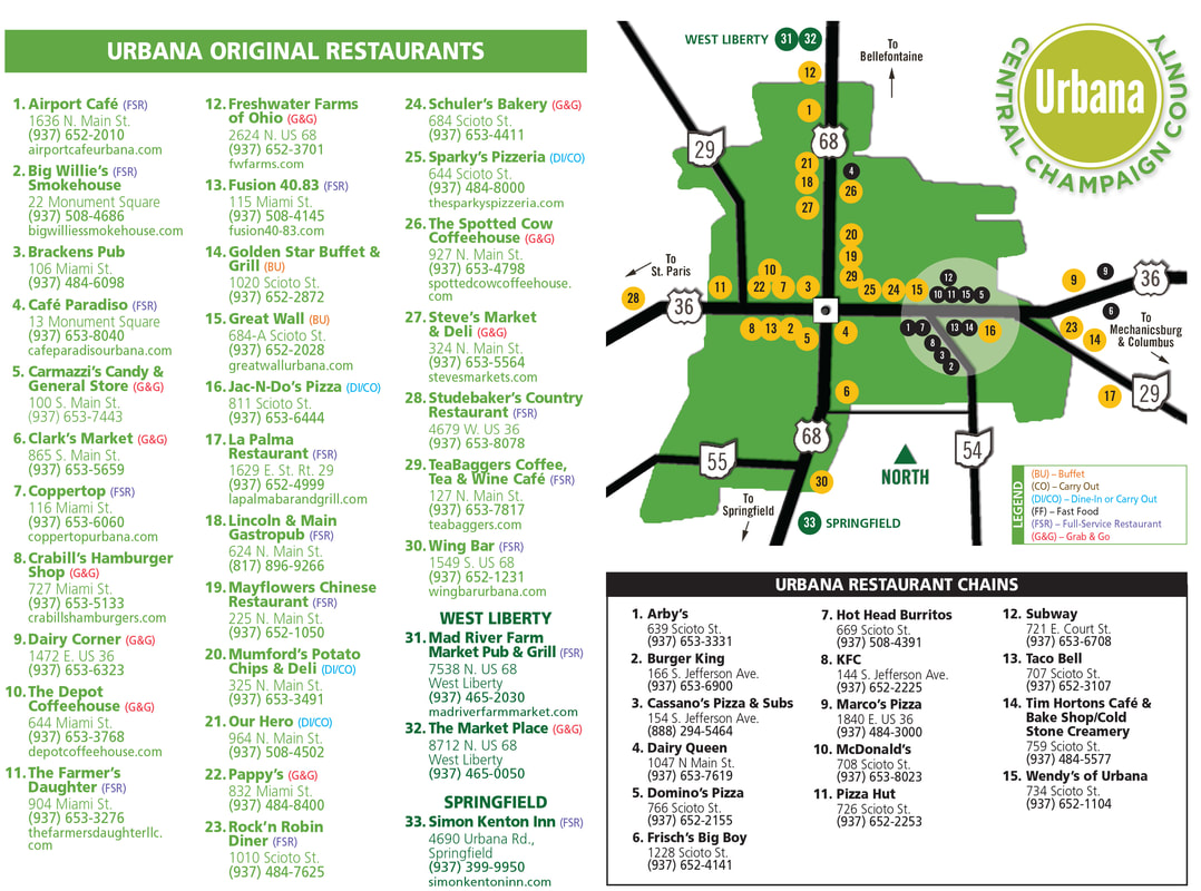 Urbana Ohio Dining Map
